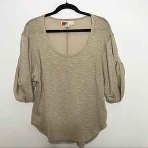 Free People Beach Beige Scoop Neck Sweater Small S